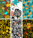Set of vertical cards with birds and flora. royalty free illustration