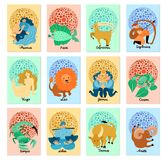 Zodiac Signs Vertical Cards. Set of vertical cards with hand drawn zodiac signs isolated on pastel background vector illustration Stock Images