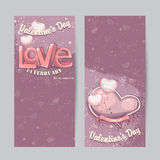 Set of vertical cards for Valentine's Day stock images