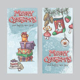 Set of vertical Christmas cards with flashlights, bells and gift Royalty Free Stock Photos