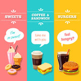 Set of 3 vertical fastfood banners. Vector illustration, eps10. Royalty Free Stock Photography