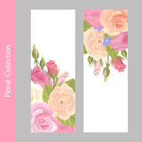 Set vertical floral greeting card. Romantic set vintage greeting card holiday to wedding, birthday, Valentines Day, vector illustration, delicate flower wreath Royalty Free Stock Photos