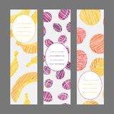 Set of Vertical Fruit Banners. Healthy lifestyle Cards Series. Royalty Free Stock Image