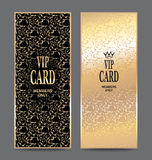 Set of vertical gold cards with floral design Stock Photos