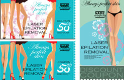 Set of vertical and horizontal discount coupons for beauty salon, laser epilation, removal, beauty female legs, vector promotional Royalty Free Stock Images
