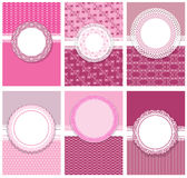Set of vertical invitation cards. (for Birthday, Wedding, Baby shower, etc.) and labels with round lace frames in pink colors - design for girls Royalty Free Stock Image