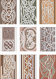 Set of vertical knot decorative patterns Stock Photos