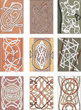 Set of vertical knot decorative patterns Royalty Free Stock Photo