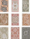 Set of vertical knot ornamental patterns Stock Photos