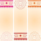 Set of vertical lotus and elephant Indian banners Stock Images