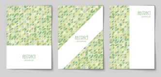 Set of vertical abstract backgrounds 16. Set of vertical mosaic background with olive color triangle elements and white place for text. Vector illustration stock illustration