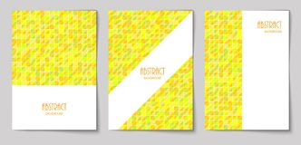 Set of vertical abstract backgrounds 17. Set of vertical mosaic background with vibrant yellow triangle elements and white place for text. Vector illustration Vector Illustration
