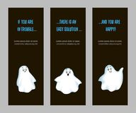 Set of vertical narrow banners emotional ghost royalty free illustration