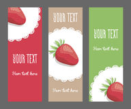 Set of vertical narrow banners with strawberries. Set of corporate style elements with fruits. Template vertical bright narrow banners for restaurant, cafe or Stock Images