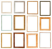 Set of vertical picture frames. With cutout canvas isolated on white background Stock Images