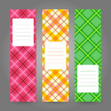 Set of Vertical Plaid Banners. Abstract Geometric ornament. Vect Royalty Free Stock Images