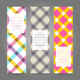 Set of Vertical Plaid Banners. Abstract Geometric ornament. Vect Stock Images