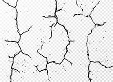 Set of vertical realistic wall cracks  on white transparent background Royalty Free Stock Photography