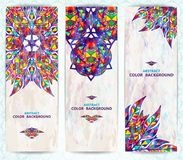 Set of vertical retro banners or backgrounds. Abstract vector illustration, EPS10 Stock Photos