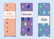 Vertical seasonal banners with easter eggs and butterflies.bookmarks. Festive discount in cartoon style.easter egg hunt - tag royalty free illustration