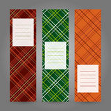 Set of Vertical Tartan Banners. Abstract Geometric ornament. Vec Stock Images