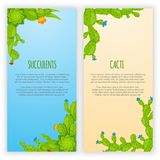 Set of 2 vertical banners with cactuses and succulents. Home cactus plants with prickles and flowers. Exotic tropical. Set of 2 vertical vector banners with Stock Images