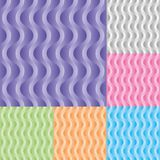 Set of vertical wavy stream vector seamless pattern. vector illustration