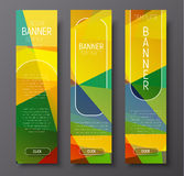 Set of vertical web banners with abstract colorful polygonal bac Stock Photo