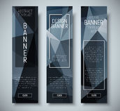 Set of vertical web banners with abstract polygonal black backgr Royalty Free Stock Images