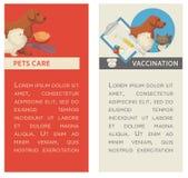 Set vertikale Fahnen Haustier care Tierarztklinik Flaches Design Stockfotografie