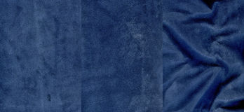 Set of very dark blue suede leather textures Stock Image