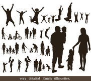 Set of very detailed family silhouettes. Royalty Free Stock Image