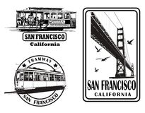 Set of very detailed logos about San Francisco. Vector illustration Royalty Free Stock Photo