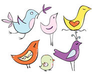 Set very lovely cartoon birds in pastel colors Stock Photos