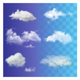 Set of very realistic different transparent white sky clouds. Stock Photography