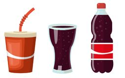 A set of vessels with a cola - a paper glass, a glass beaker, a plastic bottle with a cola. Vector illustration Stock Image