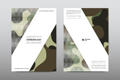 Set of Veterans Day brochure, poster templates in khaki style. Beautiful design and layout Royalty Free Stock Photos