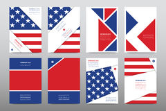 Set of Veterans Day brochure, poster templates in USA flag style. Beautiful design and layout. Leaflet cover presentation abstract background Royalty Free Stock Photo