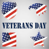 Set of Veterans Day emblems. Usa flag on the background. On gray Royalty Free Stock Image