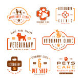 Set of veterinary clinic labels Royalty Free Stock Image