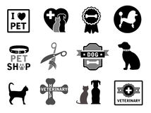 Set of veterinary concept icons Royalty Free Stock Photos