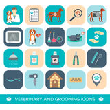 Set of veterinary and grooming icons. Flat design. Vector Royalty Free Stock Photo