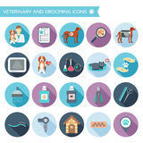 Set of veterinary and grooming icons with names. Colorful flat design with shadows. Vector Stock Photo