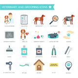 Set of veterinary and grooming icons with names. Flat design. Vector Stock Photography