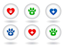 Set of veterinary icons on white button Stock Image