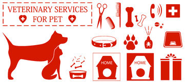 Set  veterinary services objects Royalty Free Stock Images