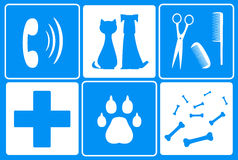 Set with veterinary symbol and animal supplies goo Royalty Free Stock Image