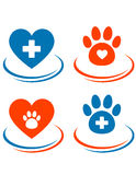 Set of veterinary symbols heart, cross and paw Stock Photos