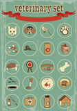 Set of veterinary vector icons Royalty Free Stock Images