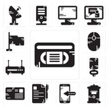 Set of Vhs, Mailbox, Smartphone, File, Letter, Microphone, Router, Mouse, Flag icons. Set Of 13 simple editable icons such as Vhs, Mailbox, Smartphone, File Royalty Free Stock Photography